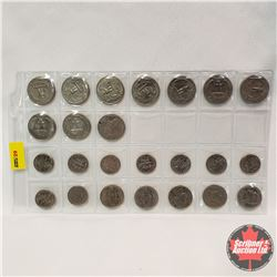 US Coins - Sheet of 24: Nickle (1949, 1974, 1976, 1980); Dimes (1966, 1974, 1980, 1981 (2), 1984, 19