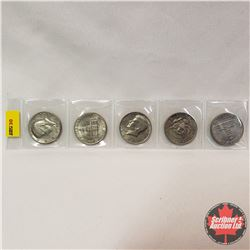 US Half Dollar - Group of 5: 1972; 1974; 1976 (2); 1981