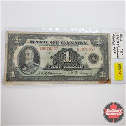 "Bank of Canada $1 Bill 1935 : Rarer ""B"" Note - S/N#B0070957 Osbourne/Towers"