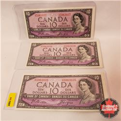 Canada $10 Bills 1954 (3 Sequence) S/N#OD5963035/036/037 Beattie/Coyne