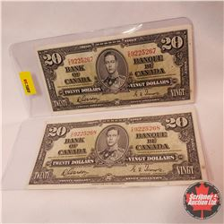 Bank of Canada $20 Bills 1937 (2 Sequence) S/N#CE9225267/268 Gordon/Towers