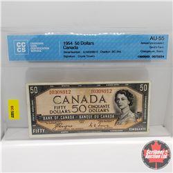 Canada $50 Bill 1954DF S/N#AH0308912 Coyne/Towers (CCCS Cert AU-55)