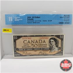 Canada $50 Bill 1954DF S/N#AH1757462 Beattie/Coyne (CCCS Cert AU-55)