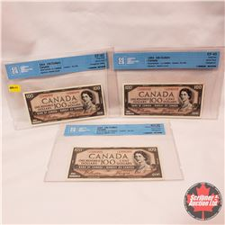 Canada $100 Bills 1954DF (3 Sequence) S/N#AJ1996898/899/900 Beattie/Coyne (CCCS Cert EF-45; EF-45; A