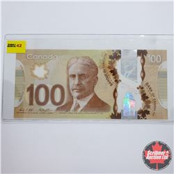 "Canada $100 Bill 2011 ""RADAR"" Note S/N#GJC8129218"