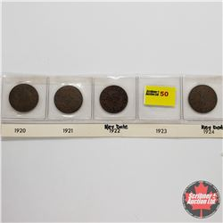 Canada One Cent - Strip of 4: 1920; 1921; 1922; 1924
