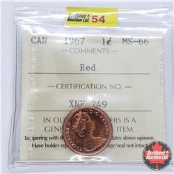 "Canada One Cent 1967 (ICCS Cert MS-66 ""Red"")"