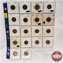Canada One Cent - Sheet of 18: 1920; 1921; 1928; 1929; 1932; 1938; 1945; 1947ML (2); 1949; 1950; 195
