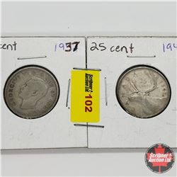 Canada Twenty Five Cent - Group of 2: 1937; 1947ML