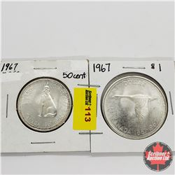 Canada Centennial 1867-1967 Coins - Group of 2: Fifty Cent & One Dollar