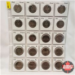 Canada Coins - Sheet of 20: Fifty Cent (1968, 1969, 1972, 1973, 1974, 1975, 1976, 1981, 1982, 2002)