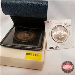 Canada Centennial 1867-1967 Coins - Group of 2: Fifty Cent & Sterling Silver Medallion