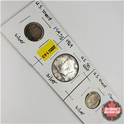 US Coins - Strip of 3: Ten Cent 1945S; Fifty Cent 1964; Ten Cent 1961D