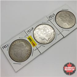 US Morgan Dollar - Strip of 3: 1921; 1921D; 1921S