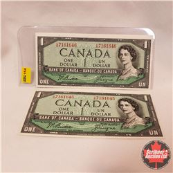 Canada $1 Bills 1954 (2 Sequence) Beattie/Coyne S/N#CN7161645/46