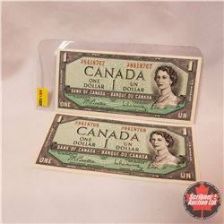 Canada $1 Bills 1954 (2 Sequence) Beattie/Rasminsky S/N#GF8418767