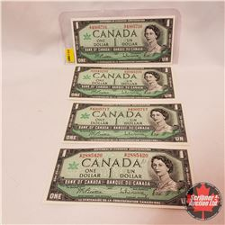 Canada $1 Bills 1967 (4) Beattie/Rasminsky