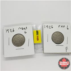 Canada Five Cent - Strip of 2: 1926 Near & 1926 Far