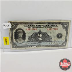 Bank of Canada $2 Bill 1935 : S/N#A3117765 Osbourne/Towers