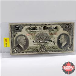 Bank of Montreal $5 Bill 1935 : S/N#407175