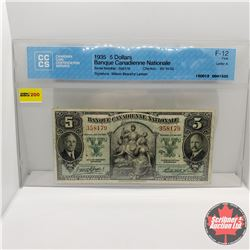 "Banque Canadienne Nationale $5 Bill 1935 : S/N#358179 (CCCS Cert F-12 ""Letter A"")"