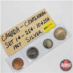 Canada Centennial 1867-1967 Coins - Strip of 4: 1¢; 5¢; 10¢; 25¢