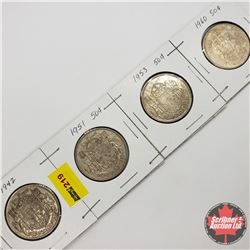 Canada Fifty Cent - Strip of 4: 1942; 1951; 1953; 1960