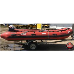 Seamax Inflatable Boat w/Trailer & Motor: Seamax Ocean 500T (16.4Ft) & 2015 Road Runner Trailer & Ho