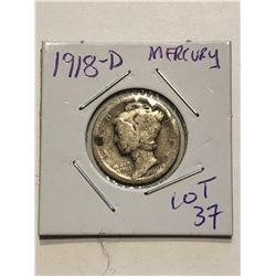 1918 D Silver Mercury Dime Nice Early US Coin