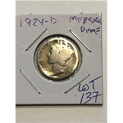 1924 D Silver Mercury Dime Nice Early US Coin