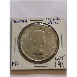 1964 Canada PROOF Silver Dollar Nice Canadian Coin