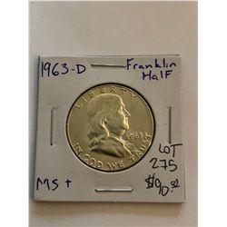 1963 D MS   High Grade Franklin Silver Half Dollar