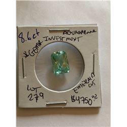Rare 8.60 Carat HUGE AQUAMARINE Investment *GEM QUALITY* Emerald Cut