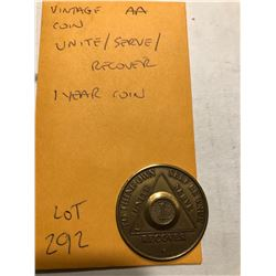 Vintage AA Coin Unite Serve Recover 1 Year Coin