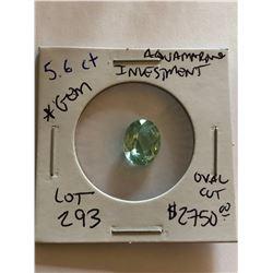 Beautiful Investment HUGE 5.60 Carat AQUAMARINE Gem Oval Cut