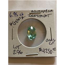 Beautiful Investment 6.95 Carat AQUAMARINE Gem Oval Cut