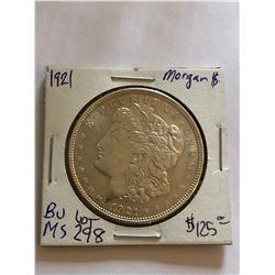 Beautiful 1921 P Morgan Silver Dollar Brilliant MS High Grade