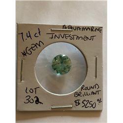 Rare HUGE 7.40 Carat AQUAMARINE Investment *GEM QUALITY