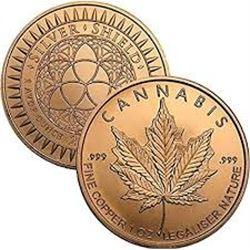 CANNIBIS 1oz Copper 999 Fine Copper Coin MS High Grade