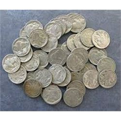 Bag of 5 Unsearched BUFFALO NICKELS with Assorted Dates Mints and Grades