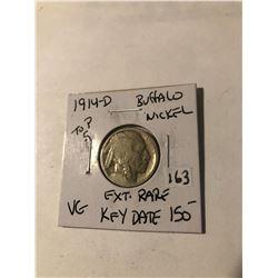 Extremely Rare 1914 D Top 5 Buffalo Nickel Key Date VG Grade acid wash