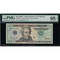 2004A $20 Boston Federal Reserve Note PMG 68EPQ