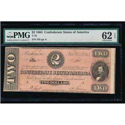 1864 $2 Confederate States of America Note PMG 62EPQ