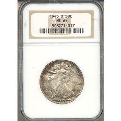 1945-S Walking Liberty Half Dollar Coin NGC MS65