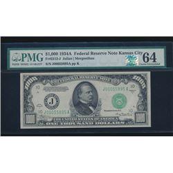1934A $1000 Kansas City Federal Reserve Note PMG 64