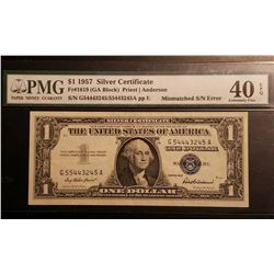 1957 $1 Silver Certificate Mismatch Serial Number Note PMG 40EPQ