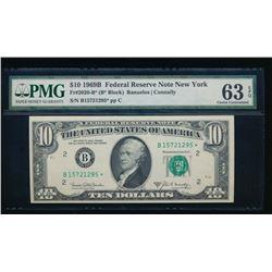 1969B $10 New York Federal Reserve Star Note PMG 63EPQ