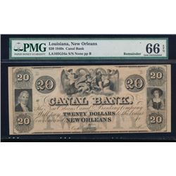 1840'S $20 New Orleans Canal Bank Note PMG 66EPQ