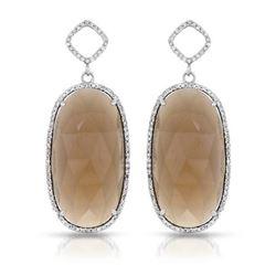 14KT White Gold 31.81ctw Smoky Topaz and Diamond Earrings