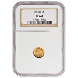 1853-O $1 Liberty Head Gold Coin NGC MS62